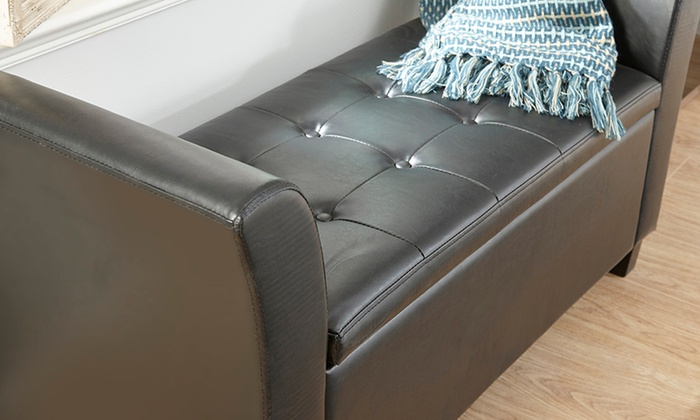 Faux Leather Ottoman Seat