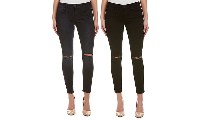 Joe's Jeans Black Destruction Skinny Ankle Jeans (Size 30) | Groupon