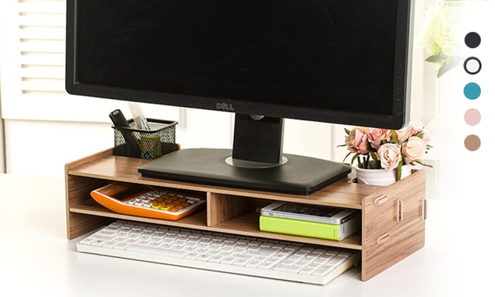 Wooden Desktop Organiser Groupon Goods