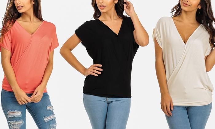 Women's Short Sleeve Overlapping Top