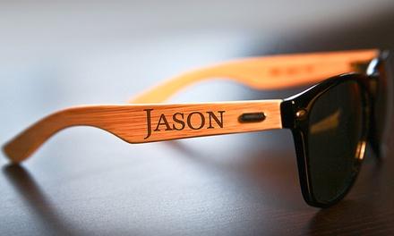 Gepersonaliseerde bamboe zonnebril van CabanyCo