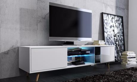 Mueble de TV Rivano de estilo escandinavo y luz LED Oferta en Groupon