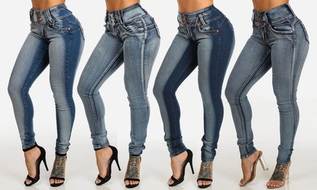 Women's High-Waist Butt-Lifting Washed Skinny Jeans in Junior Sizes bf640d8a-7788-4629-bc4e-a350e57d6a3f