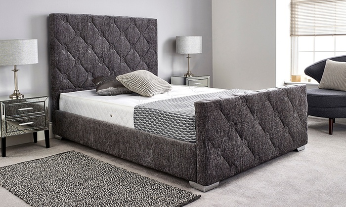 Upholstered Chenille Bed Frame with Optional Mattress