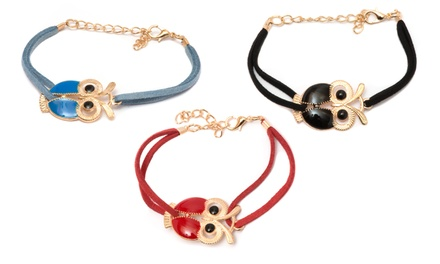12K Gold-Plated Owl Bracelet
