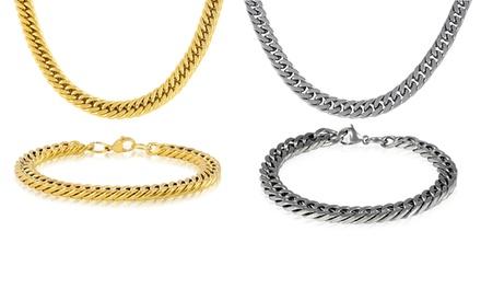 Men's Cuban Chain Necklace and Bracelet Set