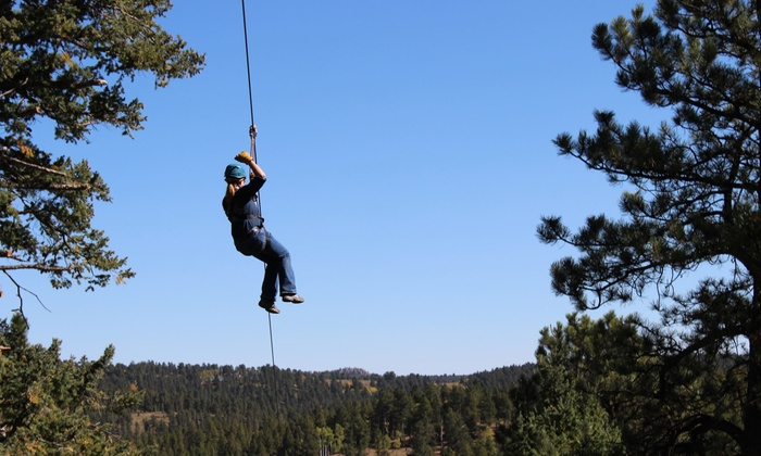 Denver Adventures - Aspen Park: Six-Zipline Tour with Speeds Up to 55 mph with Pizza and Beer for One or Two from Denver Adventures (41% Off)