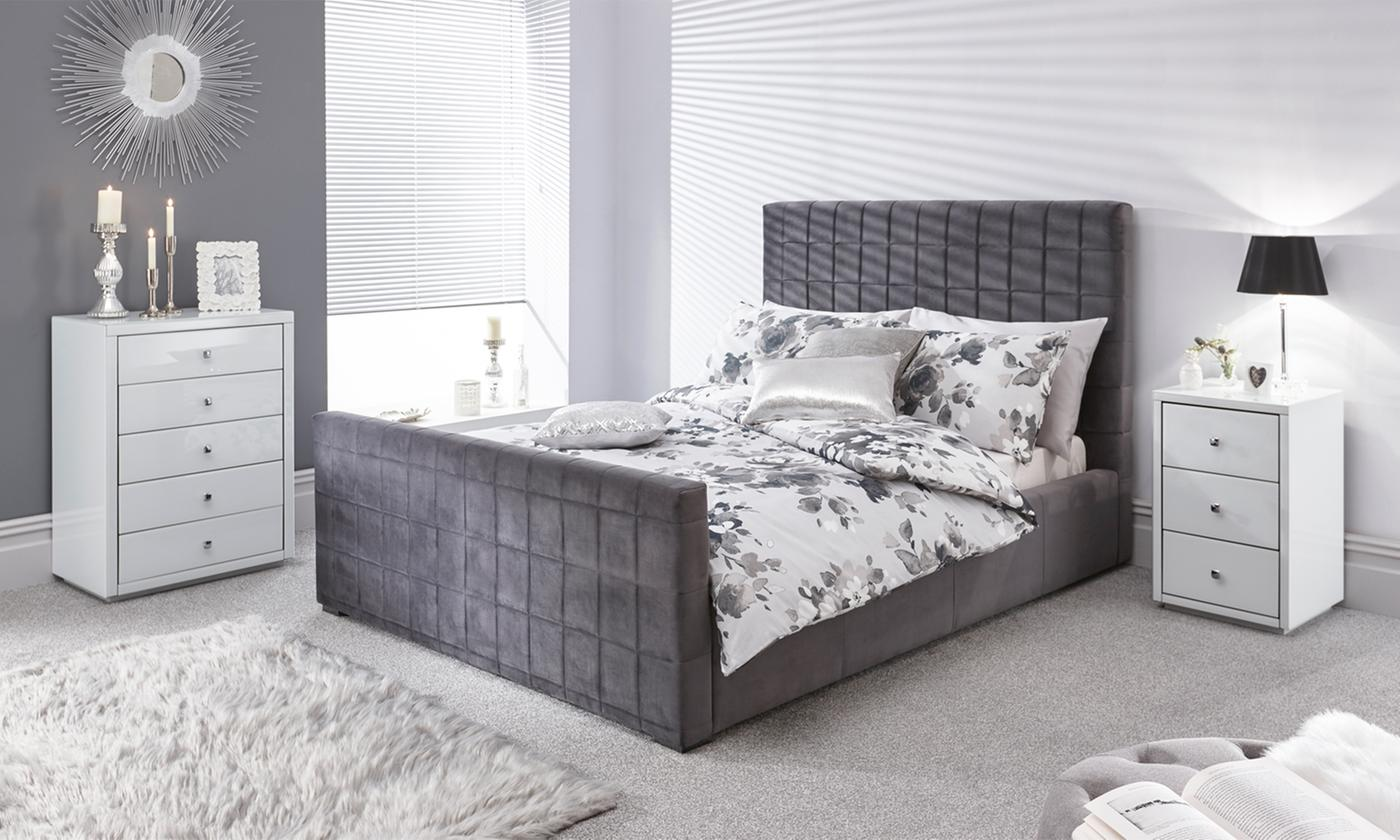 Double or King Size Delaware Soft Velvet Ottoman Bed with Optional Mattress (£569)