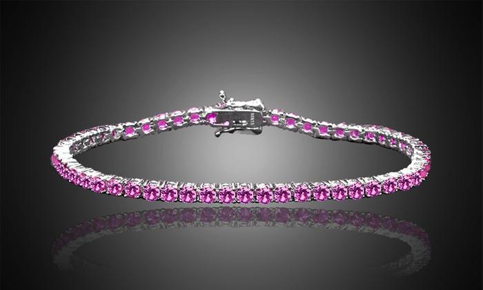 Round Cut Pink Sapphire Tennis Bracelet in 18K White Gold:    Pink Sapphire Round Cut Tennis Bracelet