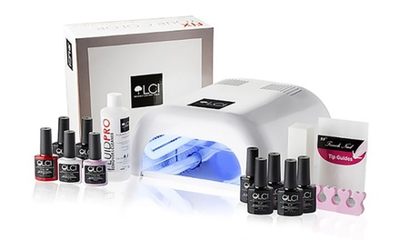 Kit con lampada UV e vari smalti semipermanenti LCI Cosmetics disponibili in vari colori