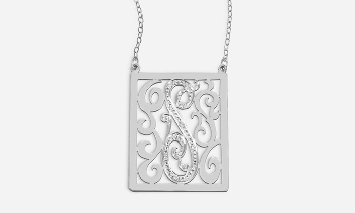 Monogram Online: Rectangle Initial Necklace with CZ or Diamond Stones from Monogram Online (Up to 51% Off). Four Options Available.