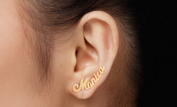 Up to 80% Off Mini Climber Name Earrings from MonogramHub