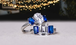 Lesa Michele Blue & Clear Cubic Zirconia 3-Stone Ring in Silver