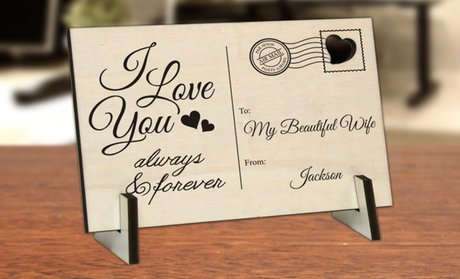 Personalized Wood Postcard (1-, 2-, or 3-Pack)