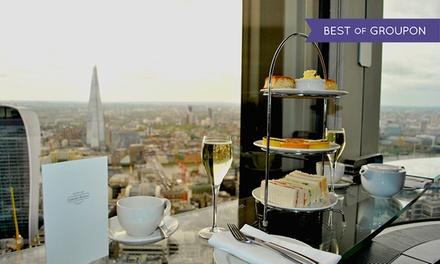Sky High Champagne Afternoon Tea for Two or Four with Panoramic Views of London at Vertigo42 (50% Off)