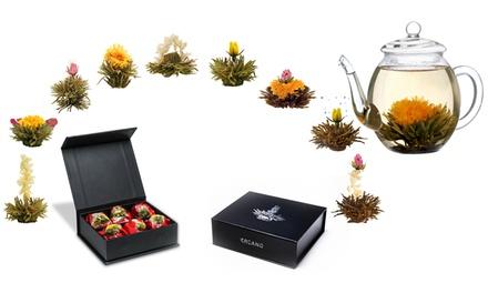 Fino a 18 infusi di tè floreale Creano in box magnetizzato o di legno, con o senza teiera da 500 ml e 2 tazze
