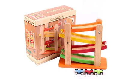 Wooden Miniature Speeding Toy Car and Ramp Set Including Delivery