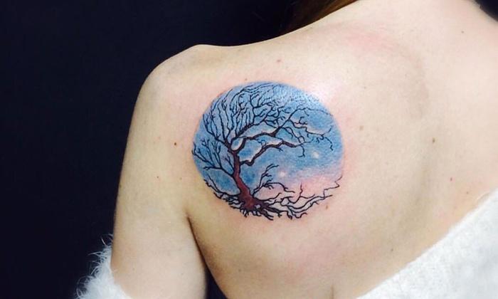 Tatuaż Czarno Biały Lub Kolorowy Viking Barbershop I Tatuaże Groupon