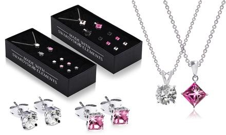 Set van 3 siederaden versierd met Swarovski®kristallen, bestaande uit oorbellen en een ketting