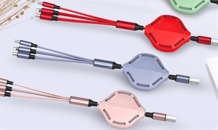 Retractable Three-in-One USB Skeleton Multi-Charging Cable: One ($9.95) or Two ($14.95)