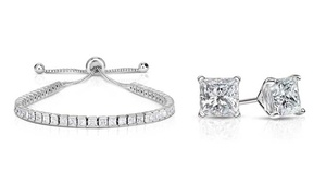 Swarovski Crystal Princess Cut Tennis Bracelet and Earring Set