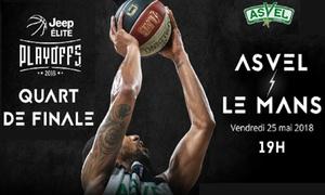 """ASVEL Basket: 2 places en tribune inférieure ou supérieure pour le match """"ASVEL vs Le Mans"""", le 25 mai 2018 à 19h, dès 19 € à Lyon"""