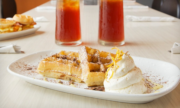 Waffles - Chicago: $14 for a Waffle Dinner with Entrees, Soft Drinks, and Shared Dessert for Two at Waffles (Up to $31.05 Value)