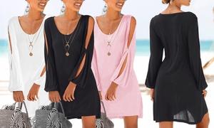 (Mode)  Robe plage manches ajourées Ella -55% réduction