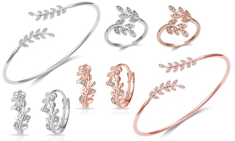 philip jones signature leaf hoop earrings, ring, bangle or sets with crystals from swarovski®