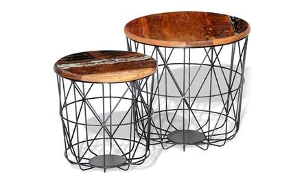 Set van 2 gerecycled houten salontafels
