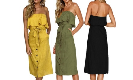 Strapless Frill Midi Dress: One ($19) or Two ($29)