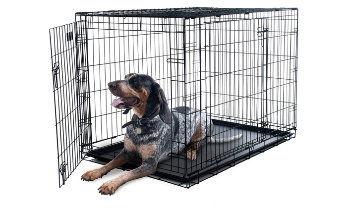 2 Door Collapsible Metal Pet Crate With Removable Tray ...