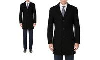 Men's Single Breasted Wool-Blend Coat