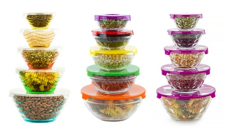 5-Piece Glass-Bowl Set with Lids