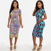 Short Sleeved Printed Bodycon Midi Dress