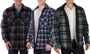 Men's Sherpa-Lined Flannel Shirt Jacket. Extended Sizes Available.