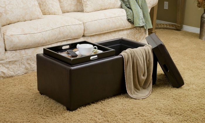 Devonshire Bonded Leather Tray Top Storage Ottoman ...