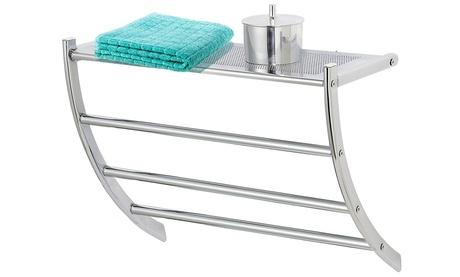 Toallero de baño con estantes de almacenamiento