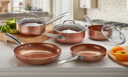 Two, Three or FivePiece Cooks Professional CopperCeramic Pan Set