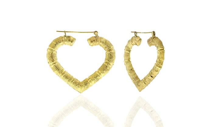 10k Gold Bamboo Hoop Earrings Multiple Options Available Groupon