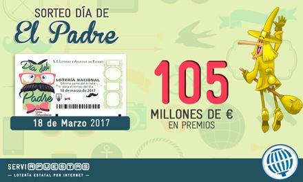 Participación de 30 décimos con la peña La Bruixa d'Or para el sorteo del Día del Padre por 10,50 € con Serviapuestas