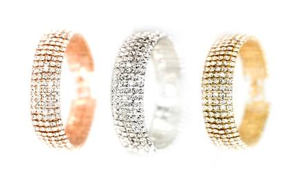 1, 2 o 3 pulseras con cinco filas de cristales