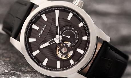 Reloj automático Heritor Davidson de banda de cuero semi-esqueleto