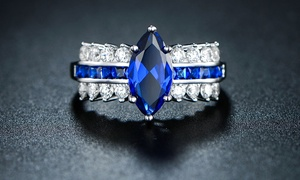 Marquise Cut Sapphire Engagement Ring in 18K White Gold