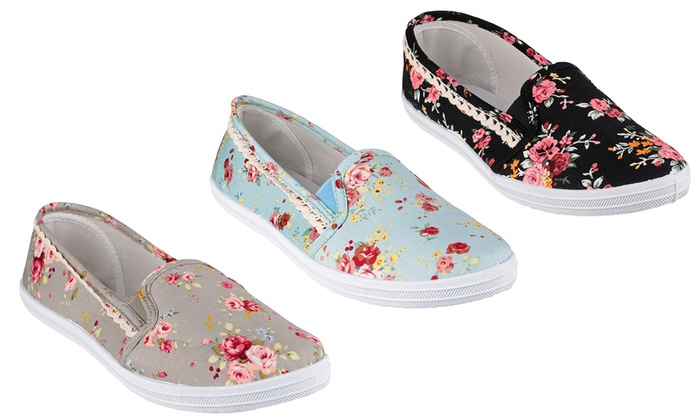 20bf39a5c65 Ladies  Swift Floral Canvas Shoes