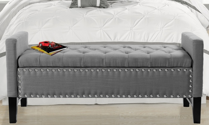 ... Contemporary Button Tufted Linen Storage Bench: Contemporary  Button Tufted Linen Storage Bench ...