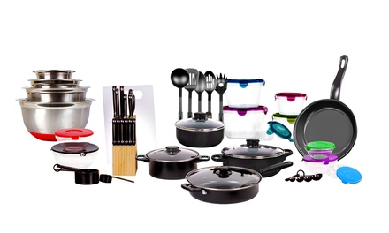 Imperial home kitchen combo set 62 piece groupon for Kitchen set groupon