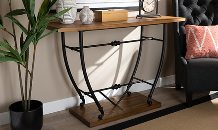 Leigh Distressed Wood and Black Metal Finished Entryway Console Table