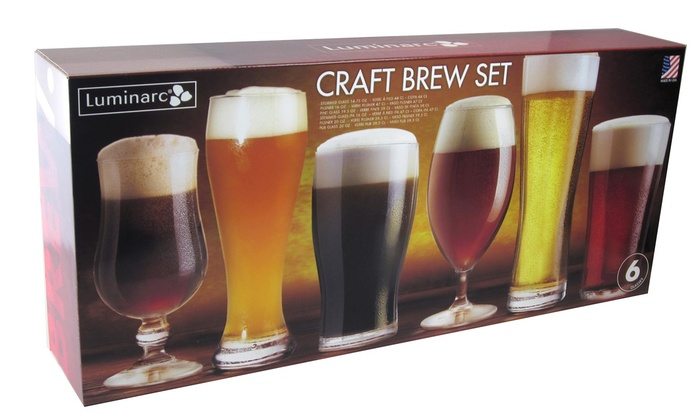6 piece set of beer glasses groupon goods. Black Bedroom Furniture Sets. Home Design Ideas