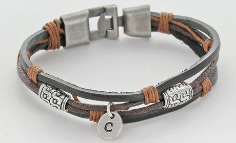 Personalized Genuine-Leather Initial Charm Bracelet